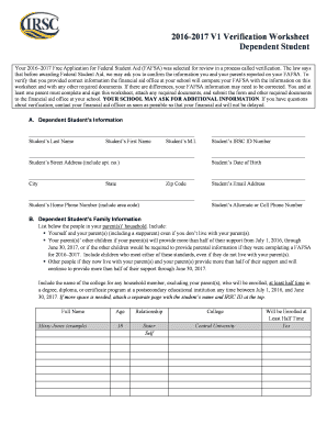 Fillable Online Irsc V1 Dependent Verification Worksheet
