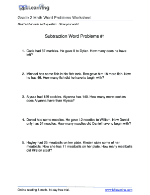 Fillable online math word problem worksheet grade 2 free and fill online ibookread PDF