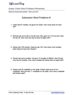 Fillable Online Math Word Problem Worksheet - Grade 2 - Free ...