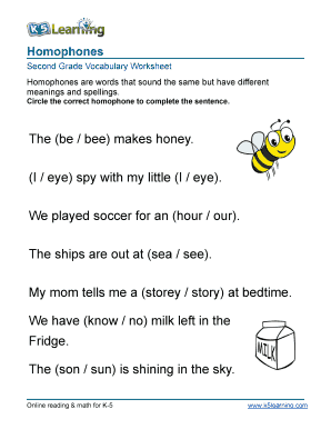 Fillable Online Vocabulary 2nd grade homophones - printable ...