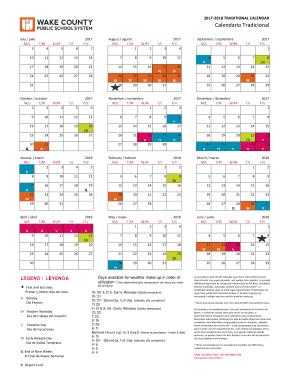 Wcpss 2019 Calendar 10 Printable calendar 2018 Forms and Templates   Fillable Samples