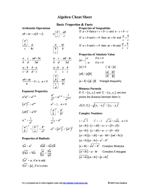 Fillable Online Algebra Cheat Sheet Pauls Online Math Notes Fax Email Print Pdffiller Use the math symbols section to browse common mathematical characters and operators. pauls online math notes fax email print