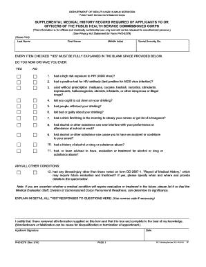 Fillable Online reginfo FORM PHS 6379  Supplemental Medical