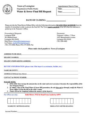 Fillable Online lexingtonma Final Bill Request Form - lexingtonma