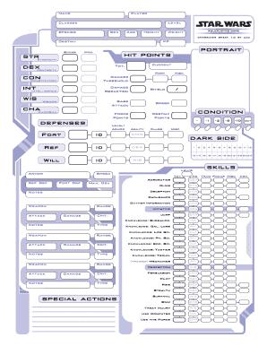 photo regarding Printable Character Sheet named Star Wars Saga Temperament Sheet Fillable Pdf - Fill On line