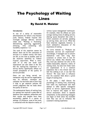 The Psychology of Waiting