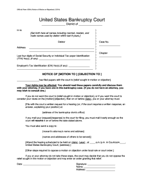 Example of official form 420a notice of obejection completed fill example of official form 420a notice of obejection completed altavistaventures Choice Image