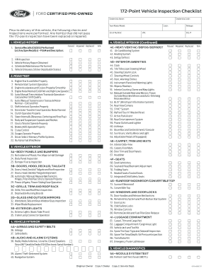 Car Inspection Checklist >> Fillable Online 172 Point Vehicle Inspection Checklist