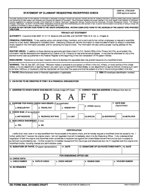 Fillable Online reginfo DD Form 2660, Statement of Claimant ...