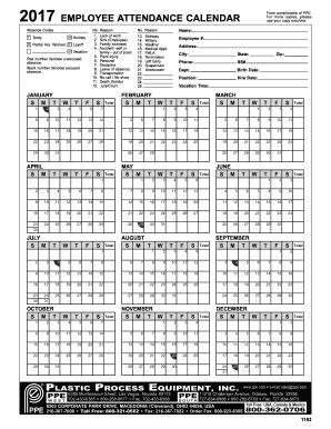employee attendance calendar 2017 - Plastic Process ...