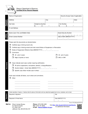 Missouri Driving Record >> Fillable Online Form 4170 Certified Driver Record Request