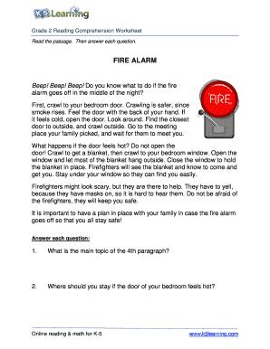Fillable Online Reading Comprehension Worksheet - fire alarm ...