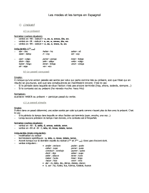 Fillable Online Les Modes Et Les Temps En Espagnol Lingalog Fax Email Print Pdffiller