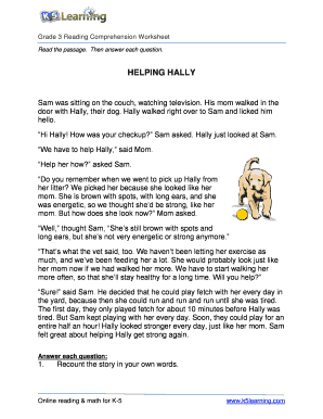 Fillable Online Reading Comprehension Worksheet - hally ...