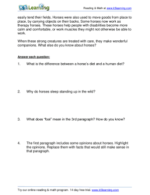 Horse Reading Comprehension Worksheets - Fill Online ...