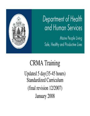 CRMA Curriculum | DLC | Maine DHHS