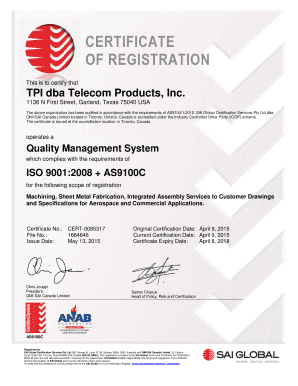 Fillable Online TPI dba Telecom Products, Inc Fax Email