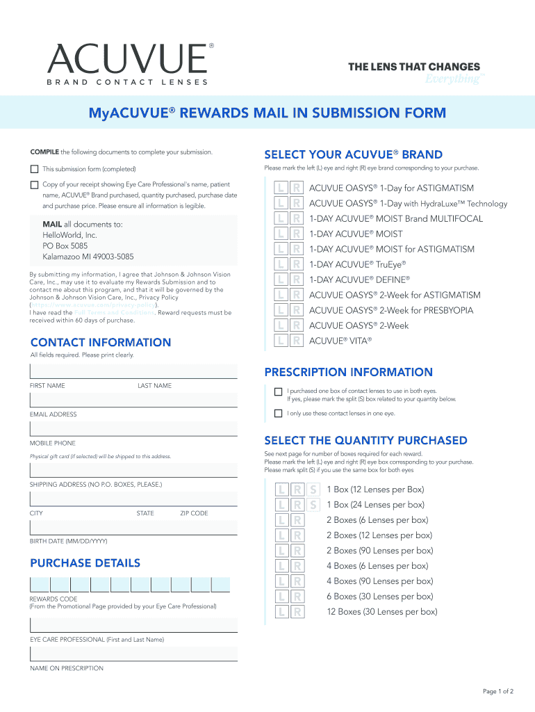 Fillable Online Myacuvue Rewards Mail In Submission Form Fax