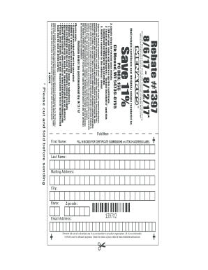Fillable Online Rebate #1397 Fax Email Print - PDFfiller