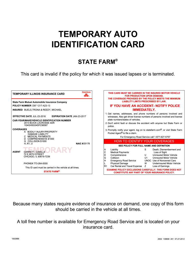 State Farm Insurance Card - Fill Online, Printable, Fillable In Fake Car Insurance Card Template