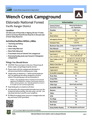 Wench creek campground fees with hookups