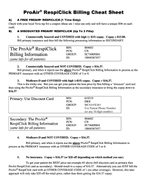 Fillable Online Proair Respiclick Billing Cheat Sheet Fax Email