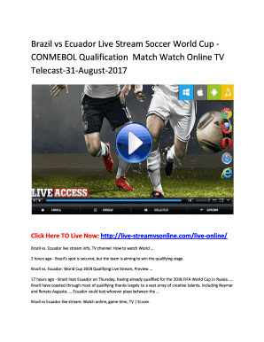 Brazil vs Ecuador Live Stream Soccer World Cup CONMEBOL Qualification Match Watch Online TV