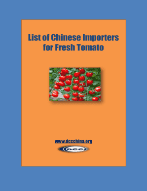 Fillable Online List of Chinese Importers Fax Email Print - PDFfiller
