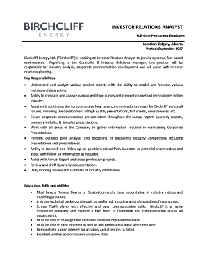 INVESTOR RELATIONS ANALYST