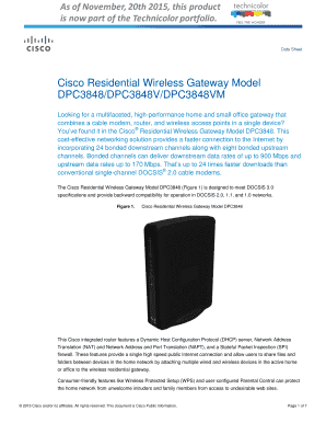 Fillable Online Cisco Residential Wireless Gateway Model Fax