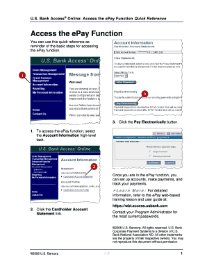 Fillable Online Bank Access Online: Access the ePay Function Quick Reference Fax Email Print - PDFfiller