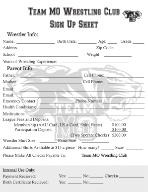 Fillable Online Team MO Wrestling Club Fax Email Print