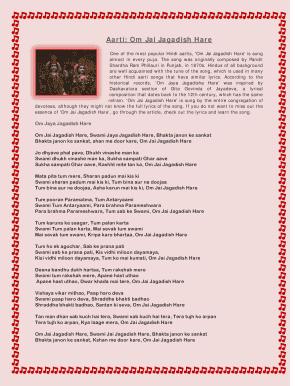 Fillable Online Aarti: Om Jai Jagadish Hare Fax Email Print
