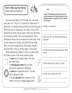 Fillable Online Cross-curricular Reading Comprehension Worksheets: B ...