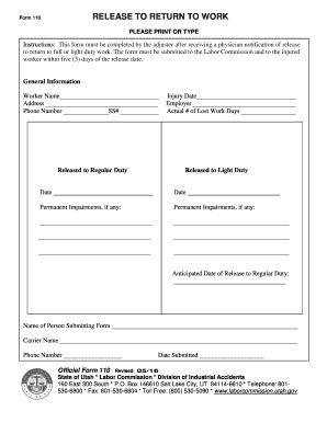 return to work form pdf