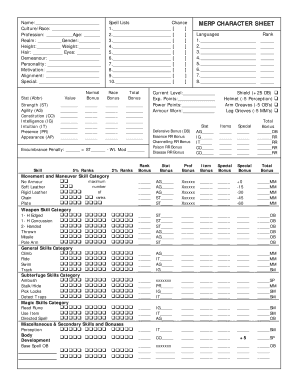 photograph regarding Printable Character Sheet titled Fillable On line MERP Identity Sheet Fax Electronic mail Print - PDFfiller