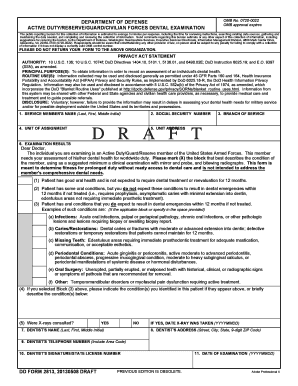 Fillable Online reginfo DD Form 2813, Active Duty/Reserve/Guard ...