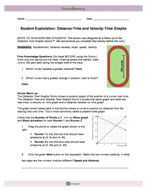 Fillable Online Student Exploration: Distance-Time and Velocity-Time