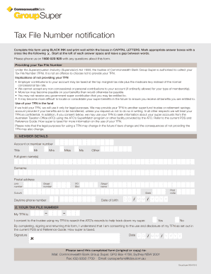 Fillable Online Tax file number application or enquiry for individuals  living ... - ATO Fax Email Print - PDFfiller