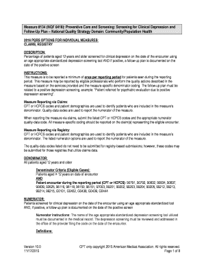 depression screening cpt code - Edit Online, Fill Out ...