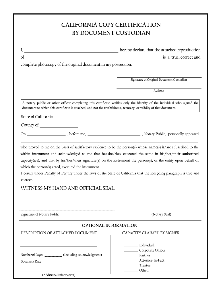 copy certification form custodian document pdf sign california blank fill pdffiller template printable signnow