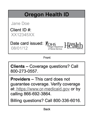 Oregon Pdffiller Health Fillable Email - Print Online Id Fax