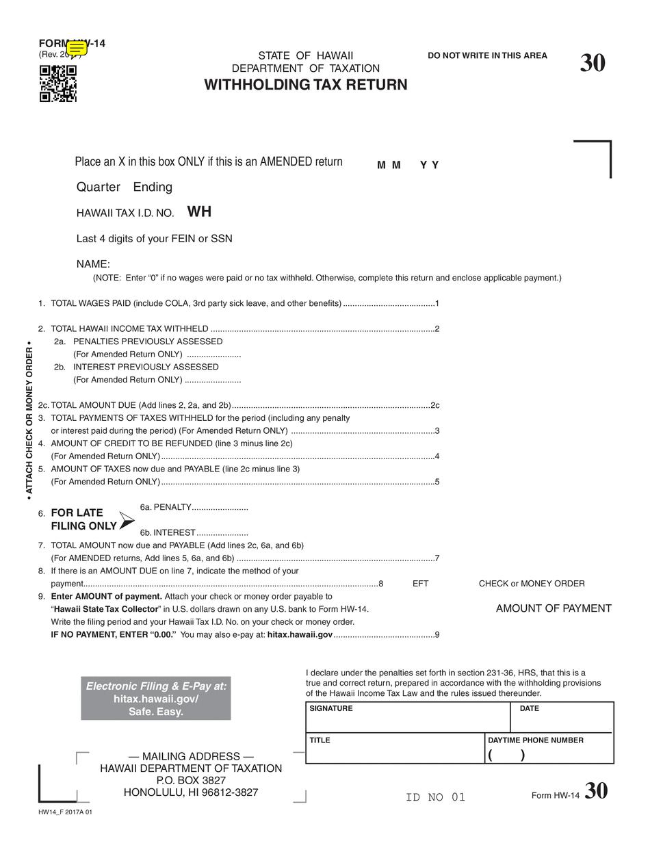 HI HW-14 (Hawaii Withholding Tax Return)