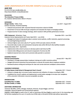 Fillable Online JSOM UNDERGRADUATE RESUME EXAMPLE (remove ...
