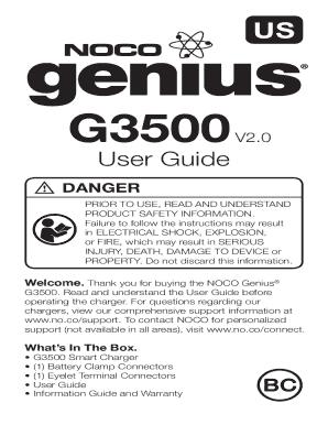 Noco Genius G3500 Manual Pdf Fill Online Printable Fillable Blank Pdffiller