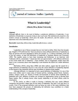 Fillable Online What is Leadership? - Journal of Business Studies