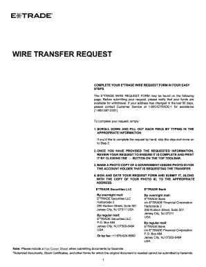 Etrade Wire Transfer | Fillable Online Complete Your E Trade Wire Request Form In Four Easy