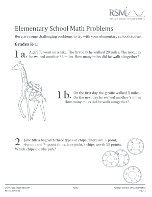 Fillable Online Elementary School Math Problems Fax Email ...