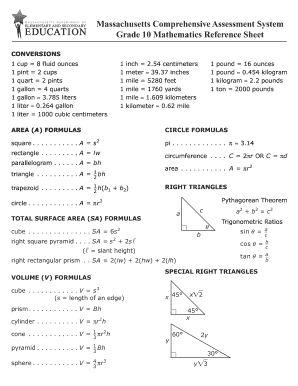 fillable online mcas grade 10 math reference sheet 2018 fax email
