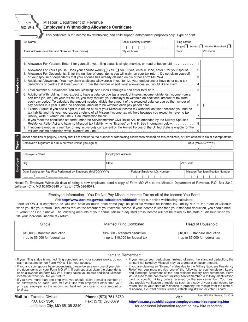 Missouri Form MO W-4